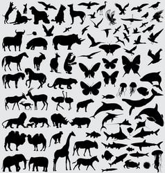 Animals silhouette set vector image