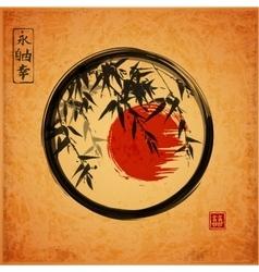Bamboo trees in black enso zen circle vector image vector image