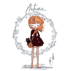 cute autumn girl with cat vector image vector image