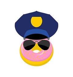 Donut in a police cap and glasses policeman vector image