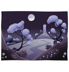 Landscape with tower in the night vector image vector image