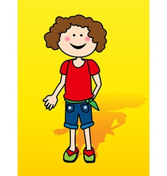 Little girl over yellow vector image vector image