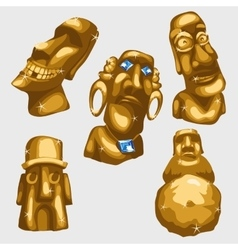 Maya sculptures from gold with sapphires vector