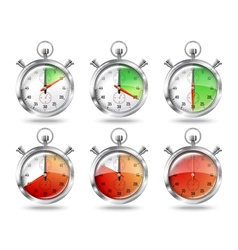 Set of silver bright stopwatch clock intervals vector image vector image