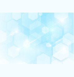 Abstract repeating hexagonal shape on blue and vector
