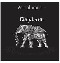 animal world elephant hand draw tribal style vector image