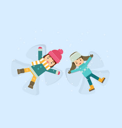 girl and boy making a snow angel vector image