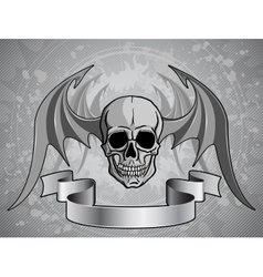 Human Skull with wings - vector image vector image
