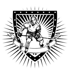 ice hockey shield vector image vector image