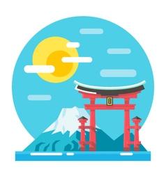Torii shrine flat design landmark vector image