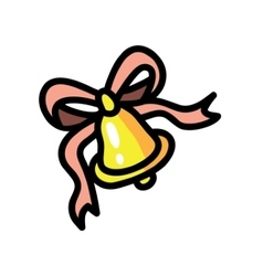 Bell with pink ribbon vector image