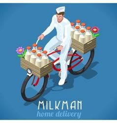 Milkman Bicycle Vintage Isometric vector image vector image