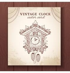 Old retro cuckoo clock card vector image vector image