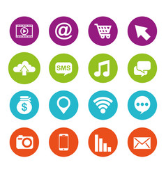 social media round icons application information vector image