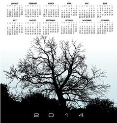 2014 light blue tree calendar vector