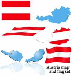 Austria map and flag set vector image vector image