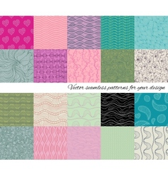 Big collection of abstract seamless patterns vector image vector image