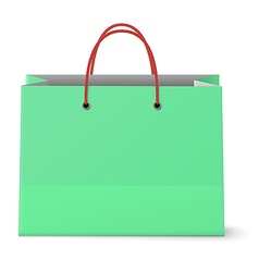 Classic paper shopping green bag with red grips vector image vector image