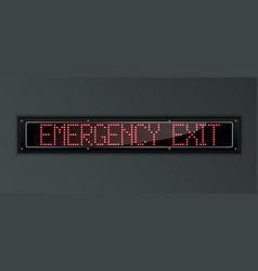 Emergency exit led digital sign vector