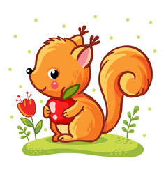 squirrel sitting on a meadow vector image