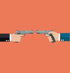 Two hands holding handguns front to front vector