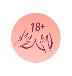 18 plus round label for adult sexual content vector