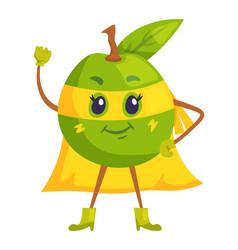 Apple superhero mascot in yellow cloak and mask vector