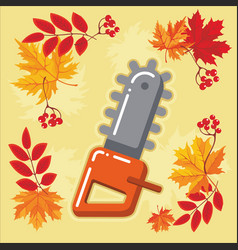 autumn agricultural icons with autumn leaves 9 vector image