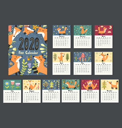 awesome fox calendar for 2020 year twelve months vector image
