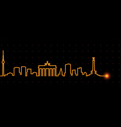 Berlin light streak skyline vector