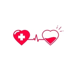 Blood donation symbol two hearts connected vector