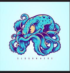 blue kraken octopus logo design your merchandise vector image
