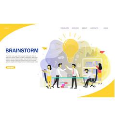Brainstorming team landing page website vector