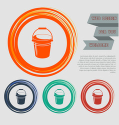 Bucket icon on red blue green orange buttons vector