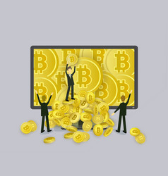 Businessmen and bitcoins falling out of computer vector