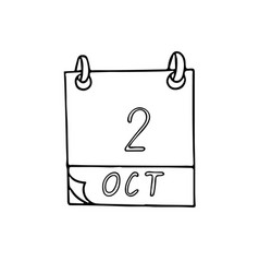 Calendar hand drawn in doodle style october 2 vector