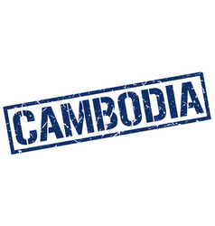 Cambodia blue square stamp vector