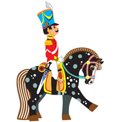 cartoon soldier on a black horse vector image