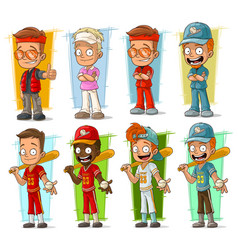 Cartoon sportsmen players characters set vector