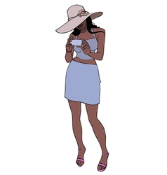 cartoon woman in a hat stands and photographs vector image