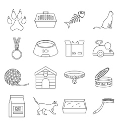 Cat care tools icons set outline style vector