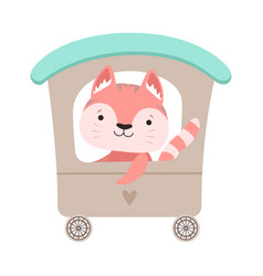 Cheerful whiskered cat driving toy wheeled vector