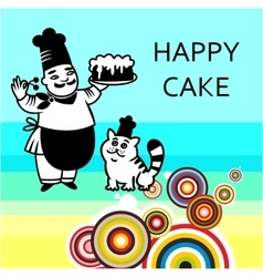 Chef with cake and cat vector