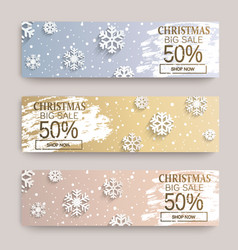 christmas big sale banners with snowflakes vector image
