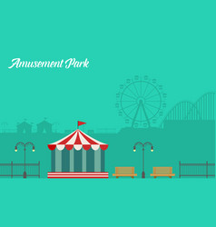 Collection background amusement park scenery vector