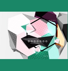 Color 3d geometric composition poster vector