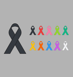 Colorful awareness ribbons vector