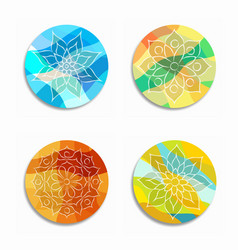 colorful mandala flower icon set isolated vector image