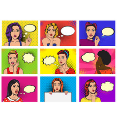 Comic woman popart cartoon girl character vector