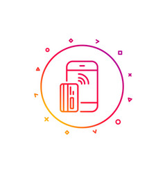 Contactless payment card line icon phone money vector
